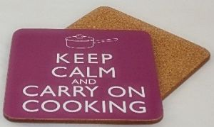 Keep Calm & Carry On Cooking set of 4 drinks coasters   (gg)